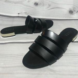 Zara Trafaluc Black Flat Sandals